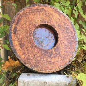 Really OLD! Primitive Oak Circle Picture Frame